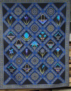 Beautiful quilt made by Janette W. She combined blocks from Jinny's Garden 2010 BOM and 12 kaleidoscope blocks from Avalon Bloom. Each block and border is individually quilted! Bargello Quilts, Sampler Quilts, Free Motion Quilting, Hand Quilting, Pattern Blocks, Quilt Patterns, Ties That Bind, Quilting Room, Quilt Top