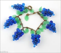 Vintage Czech Brass Cobalt Blue Glass Grape Leaf Charm Bracelet 30'S