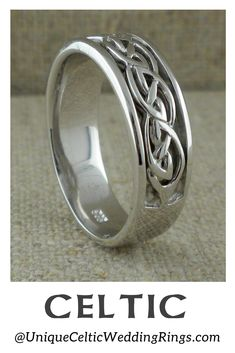 Yellow or White Celtic Knot Wedding Ring — Unique Celtic Wedding Rings — Unique Celtic Wedding R Celtic Rings, Celtic Knot, Jewelry Rings, Fine Jewelry, Jewellery, Irish Wedding Rings, Wedding Ring Designs, Unique Rings, Rings For Men