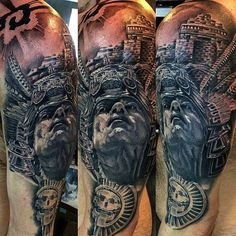 A proud Aztec warrior in realistic black and grey style, also by Luis Fernando Puedmag Vinueza.