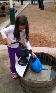 We recently added this beautiful barrel pump to our Outdoor Classroom. It was a simple addition, yet it has added a wealth of engagement in . Outdoor Learning Spaces, Kids Outdoor Play, Outdoor Play Areas, Outdoor Fun, Outdoor Education, Indoor Play, Preschool Playground, Backyard Playground, Playground Ideas