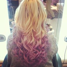 Blonde with Raspberry tips ombre hair color