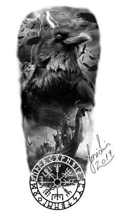 Tattoo Odin, Viking Ship Tattoo, Viking Tattoos For Men, Viking Warrior Tattoos, Viking Tattoo Sleeve, Viking Tattoo Design, Sleeve Tattoos, Crow Tattoo Design, Crow Tattoos