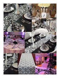 Traditional black/whiteand red wedding reception ideas? :  wedding black white red reception rehersal dinner traditional centerppieces bouquet inspiration diy DamaskTableRunner2