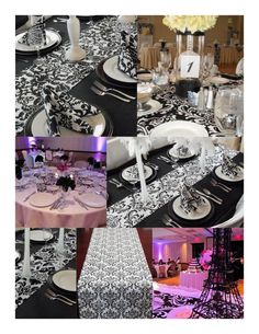 Traditional black/whiteand red wedding reception ideas? :  wedding black white red reception rehersal dinner traditional centerppieces bouquet inspiration diy DamaskTableRunner2