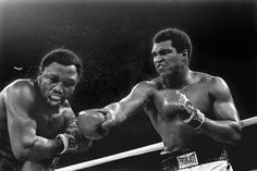 """Ali, right, fights Joe Frazier in Manila, 1975  -  Ferdie Pacheco: """"I, a lowly physician of the Miami ghetto, got on the Ali train when he started in the Fifth Street Gym. I was there in every fight and through all of his troubled public life. It was a wild ride. It was great fun. The most memorable moment was at the Ali-Frazier 'Thrilla in Manila,' where death was in the ring at the end of the fight. One more round and one of them was going to die.""""  -   Ferdie Pacheco was Ali's cornerman and physician from 1962 to 1977 and later became a television boxing commentator."""