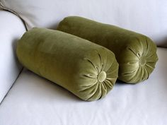 VELVET olive green Bolster pillows 6x18 pair by theBolsterQueens on Etsy