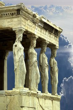 Porch of the Caryatids, Athens, Greece This is one of six caryatids that held up the roof of the temple on the Acropolis known as the Erechtheion.