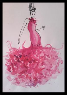 Fashionillustration painted with pink watercolours. #fashion illustration #fashionillustration #fashion #illustration #pink #pink dress #pink dress illustration #fashion drawing #watercolors #watercolours #haute couture dress #haute couture #art drawing #girl #female #pink dress fashion illustration #fashion art #illustration artworks #fashion sketch #illustration chic Dress Illustration, Fashion Illustration Dresses, Haute Couture Dresses, Haute Couture Fashion, Watercolor Pattern, Pink Watercolor, Metallica, Dior Wedding Dresses, Bright Pink Dresses