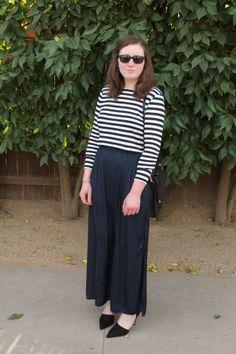 Maxi Skirt, Crop Top, Striped Shirt