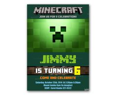 Creeper MinePlayCraft Kids Birthday Invitation Party Design – Uinvites