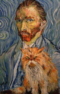 """Купить картина маслом """"кот Ван Гок"""" - морская волна, черный, чёрно-белый"""