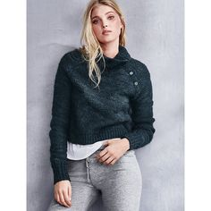 Victoria's Secret Buttoned Turtleneck Sweater ($48) ❤ liked on Polyvore featuring tops, sweaters, green, blue crop top, victoria secret sweaters, cropped turtleneck sweater, loose crop top and cropped sweater