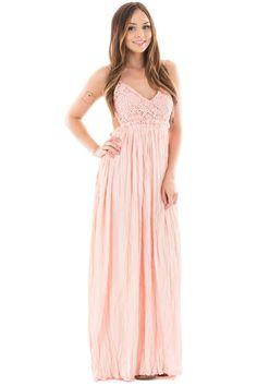 Lime Lush Boutique - Light Pink Crochet Bodice Open Back Maxi Dress, $23.95 (https://www.limelush.com/light-pink-crochet-bodice-open-back-maxi-dress/)