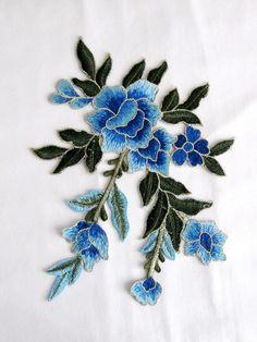 Remiendo de la flor de la Casperia azul Florwer Applique