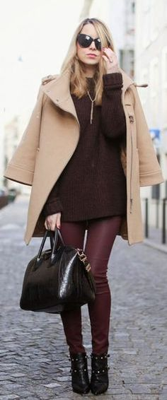 #winter #fashion / burgundy + camel coat