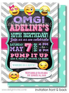 Birthday invitations for 11 year old girl free printable 13th printable digital emoji birthday party invitations for girls di 625dp custom invitations filmwisefo Gallery