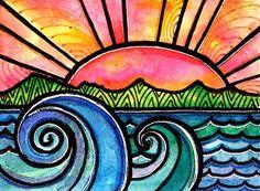 Watercolors & sharpie art idea