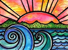 Watercolors  sharpie art idea