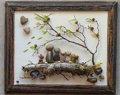 Pebble Art, Rock Art, Pebble Art Family, Rock Art Family, family dog, heart rocks, tree in wind, unique pebble art, 8.5x11 (FREE SHIPPING)