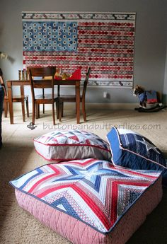 Red, White, and Blue {Floor Cushions}  New additions to the Game Room to coordinate with our Stars and Stripes Quilt!