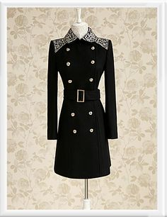 Morpheus Boutique  - Black Double Breasted Bow Wool Long Sleeve Crystal Coat, CA$205.11 (http://www.morpheusboutique.com/black-double-breasted-bow-wool-long-sleeve-crystal-coat/)