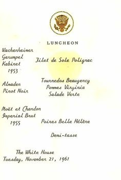 1000 images about jackie kennedy 39 s white house menus on for Table 52 brunch menu