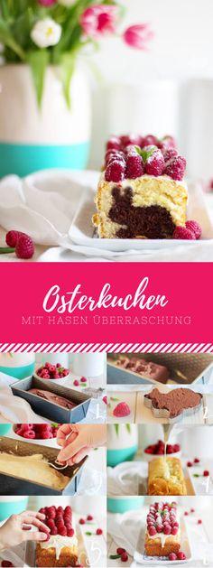 Osterkuchen mit Hasen-Überraschung mit Himbeeren und weißer Schokolade. Der perfekte Kuchen für Ostern!