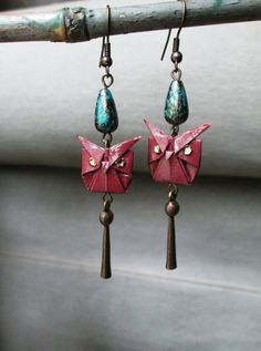 Laquered Origami Earrings Owls accented with antiqued by Orijami, $16.00