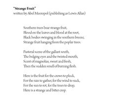 papaya fruit strange fruit poem