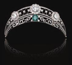 Emerald  Diamond Tiara A German noble family in Westphalia owned this stunning emerald and diamond tiara, c. 1910. It was worn at an official dinner given by Kaiser Wilhelm II by an ancestor of the present owner and sold for $253,555.