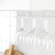 IKEA - FINMALD, Glass rack, Saves space on the shelf and keeps the inside of your glasses free from dust. Wine Glass Rack, Wine Rack, Wire Shelving, Shelves, Ikea Shopping, Kitchen Cabinet Drawers, Kitchen Installation, Bottle Rack, Kitchens