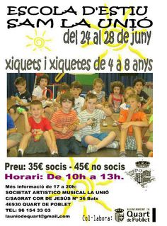 Escola d'Estiu 2013 SAM La Unió http://quartjove.quartdepoblet.es/index.php/escola-destiu-2013-sam-la-unio/