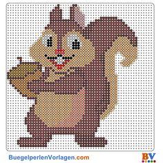Herbst-Eichhörnchen Bügelperlen Vorlage. Auf buegelperlenvorlagen.com kannst du eine große Auswahl an Bügelperlen Vorlagen in PDF Format kostenlos herunterladen und ausdrucken.