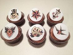 12x SAILOR JERRY Icing Cupcake Toppers~Retro Vintage Tattoo Rockabilly Style