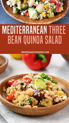 Mediterranean Three Bean Quinoa Salad Mediterranean Three Bean Quinoa Salad – this protein-packed Mediterranean salad is full of flavor and great served as a main dish or side dish. Fun Easy Recipes, Easy Salad Recipes, Easy Salads, Vegetarian Recipes, Cooking Recipes, Healthy Recipes, Frugal Meals, Easy Meals, Clean Eating