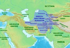 Map of the Greco-Bactrian Kingdom (Illustration) - Ancient History Encyclopedia Perse Antique, Parthian Empire, Alexandre Le Grand, Hellenistic Period, History Encyclopedia, India Map, Religion, Alexander The Great, In Ancient Times