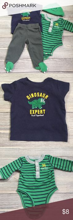 Carter's 4 Piece Dinosaur Outfit Carter's 4 Piece Outfit.  Short sleeve Dino tee, long sleeve striped onesie, dinosaur feet pants, and dinosaur hat.  Excellent condition.  Smoke free/pet free home. Carter's Matching Sets