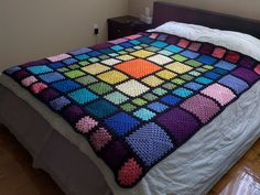 Queen Sized Stained Glass Rainbow Squares Crochet Bedspread