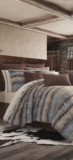 J Queen Okemo is a southwestern inspired horizontal printed stripe. This bedding collection consists of tones of spa and indigo colors. Rustic Quilts, Rustic Bedding, Southwestern Bedding, Western Bedding Sets, Luxury Cabin, Lodge Style, Cozy Cabin, House Beds, Bedroom Bed