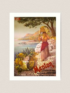 """Menton Travel Poster - Menton Vintage Travel Poster """"Travel brings power and love back into your life. Retro Poster, Retro Color, Vintage Travel Posters, Paris Travel, Beach Trip, France, Monte Carlo, Deco, Beaches"""