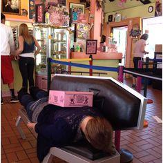 Planking at VooDoo Donuts, Portland, Oregon.
