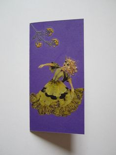 "Handmade unique greeting card""I'm in my own world"" - Decorated with dried pressed flowers and herbs - Original art collage."