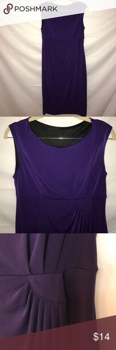 """Purple faux wrap dress by Enfocus Studio Purple dress with black lining. Faux wrap detail. Armpit to armpit: 16.5"""". Neck to hem: 33.5"""". Enfocus studio Dresses Midi"""