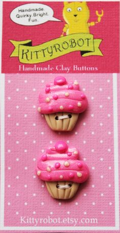 CUPCAKE handmade sculpey polymer clay deco button by kittyrobot, $5.00