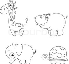 Stock vector of 'Outlined cute animal set - giraffe, hippopotamus, elephant and turtle'
