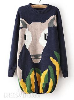 US$38.03 Best Jacquard Long Cartoon Print Sweater. #Knitwear #Jacquard #Best #Sweater