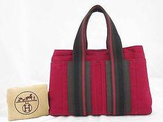 Auth-HERMES-Troca-Horizontal-Handbag-Red-Brown-Cotton-Jersey-Leather-e17756