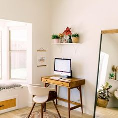 beautiful minimalist home office ideas you must know 20 Home Office Space, Home Office Design, Home Office Decor, Office Ideas, Home Desk, Desk In Living Room, Desk In Bedroom, Mid Century Decor, Minimalist Home