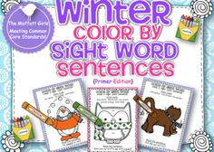 Winter Color by Sight Word Sentences (Primer Edition)